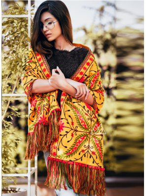 Yellow Khadi Embroidered Stole