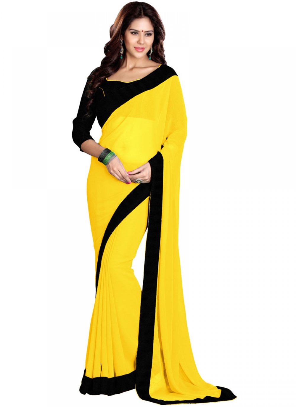 Yellow Lace Faux Georgette Saree