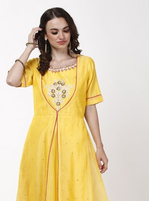 Yellow Layered Anarkali Salwar Kameez