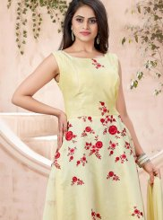 Yellow Machine Embroidery  Trendy Gown