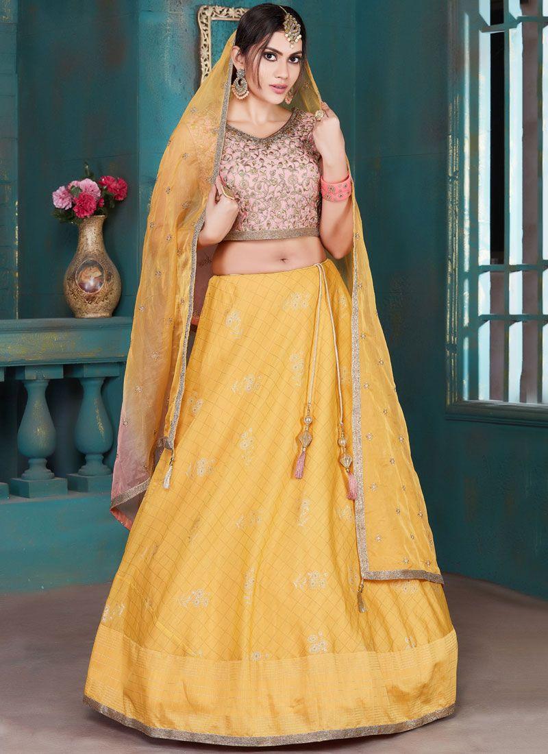 Yellow Mehndi Art Silk Designer Lehenga Choli
