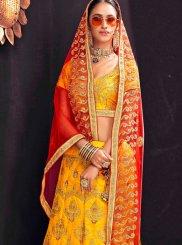Yellow Mehndi Banglori Silk Lehenga Choli