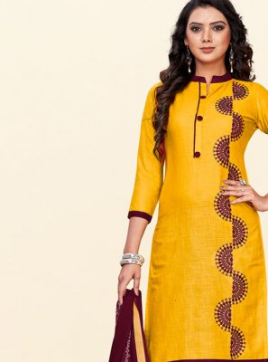 Yellow Mehndi Cotton Churidar Salwar Suit