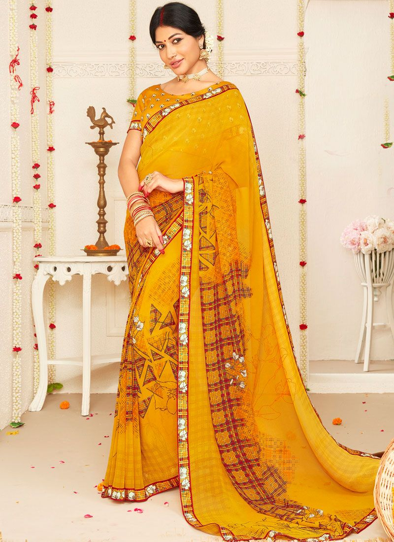 Yellow Mehndi Faux Georgette Trendy Saree