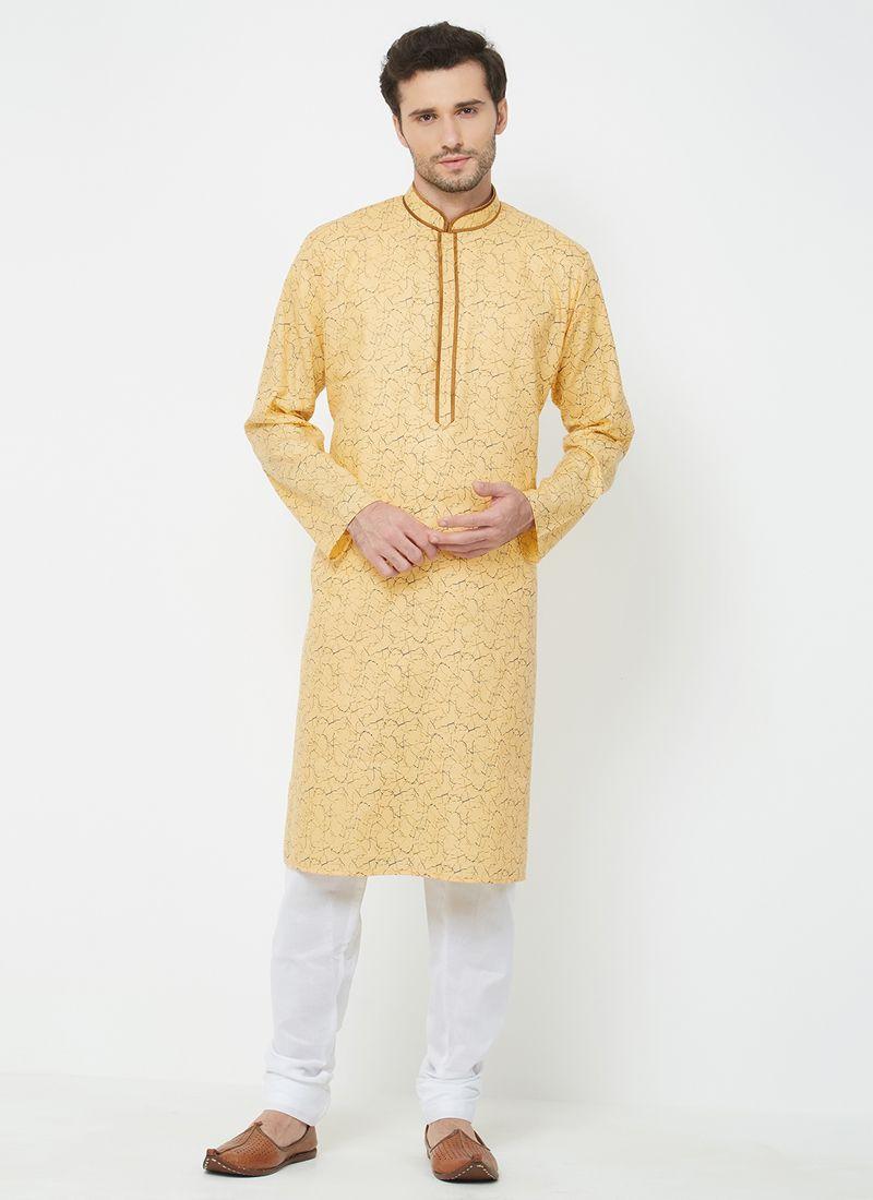 Yellow Mehndi Linen Kurta Pyjama