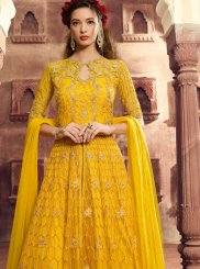 Yellow Net Floor Length Anarkali Suit