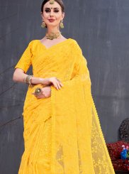 Yellow Organza Trendy Saree