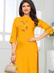 Yellow Party Casual Kurti
