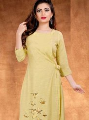 Yellow Party Cotton Casual Kurti