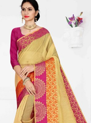 Yellow Party Cotton Casual Saree