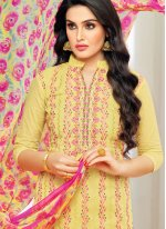 Yellow Party Cotton Pant Style Suit