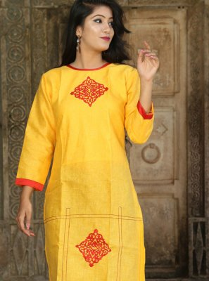 Yellow Party Party Wear Kurti