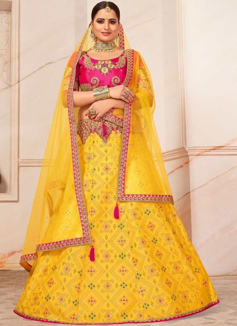 Yellow Party Trendy A Line Lehenga Choli