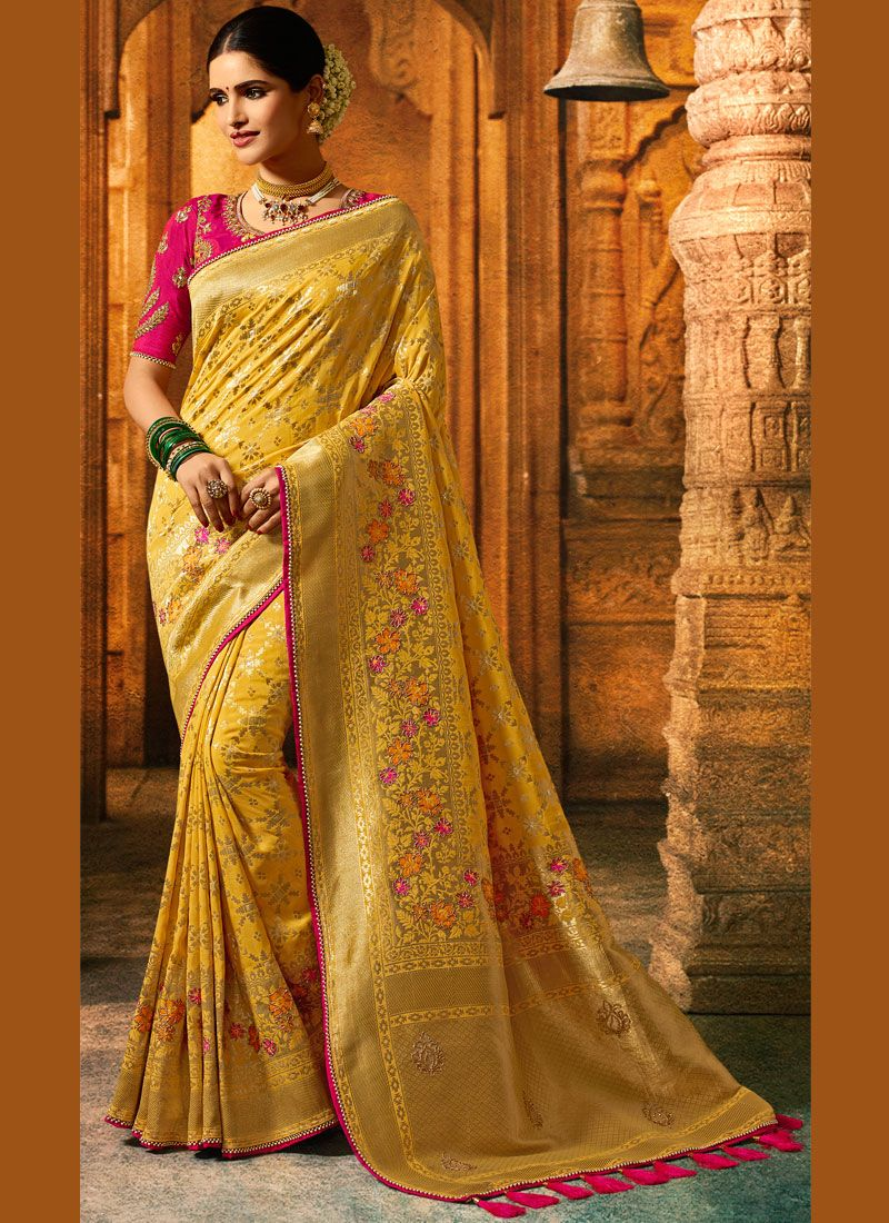 Yellow Patch Border Fancy Fabric Saree