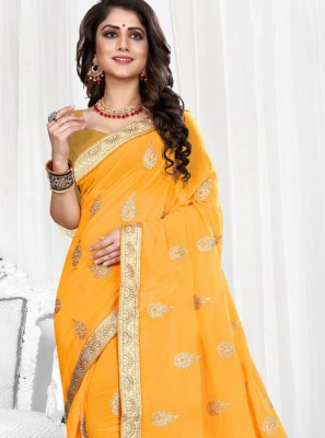 Yellow Patch Border Faux Georgette Classic Designer Saree