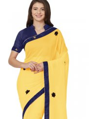 Yellow Patch Border Saree