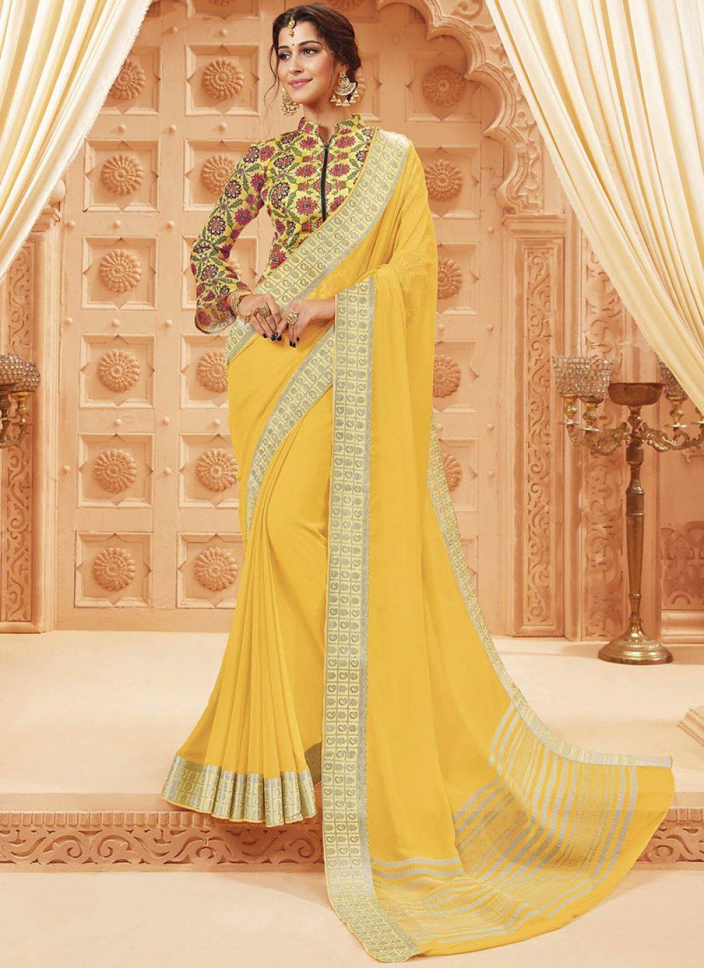 Yellow Patch Border Satin Silk Traditional Designer Saree