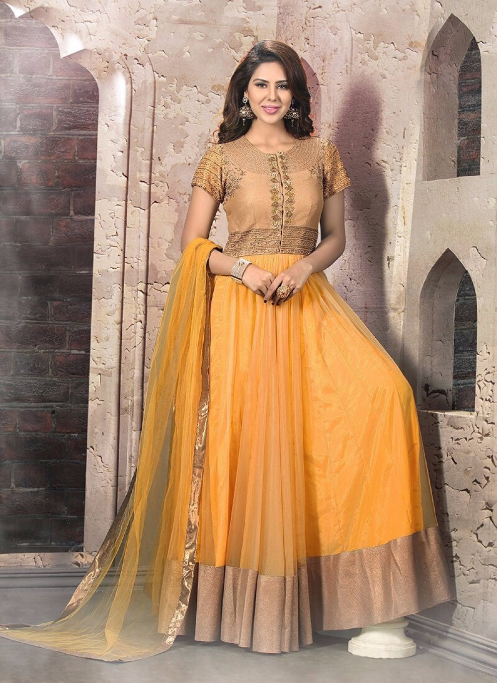 Yellow Patch Border Work Anarkali Salwar Suit