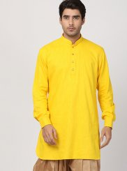 Yellow Plain Blended Cotton Dhoti Kurta