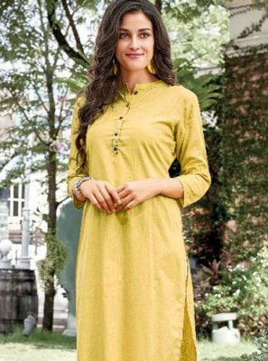 Yellow Plain Casual Kurti