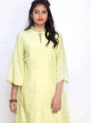 Yellow Plain Cotton Party Wear Kurti