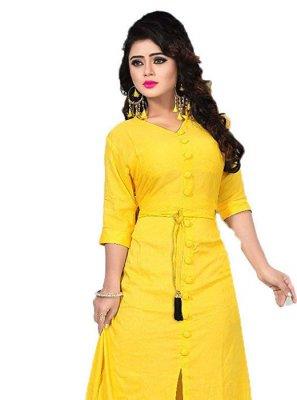 Yellow Plain Designer Kurti
