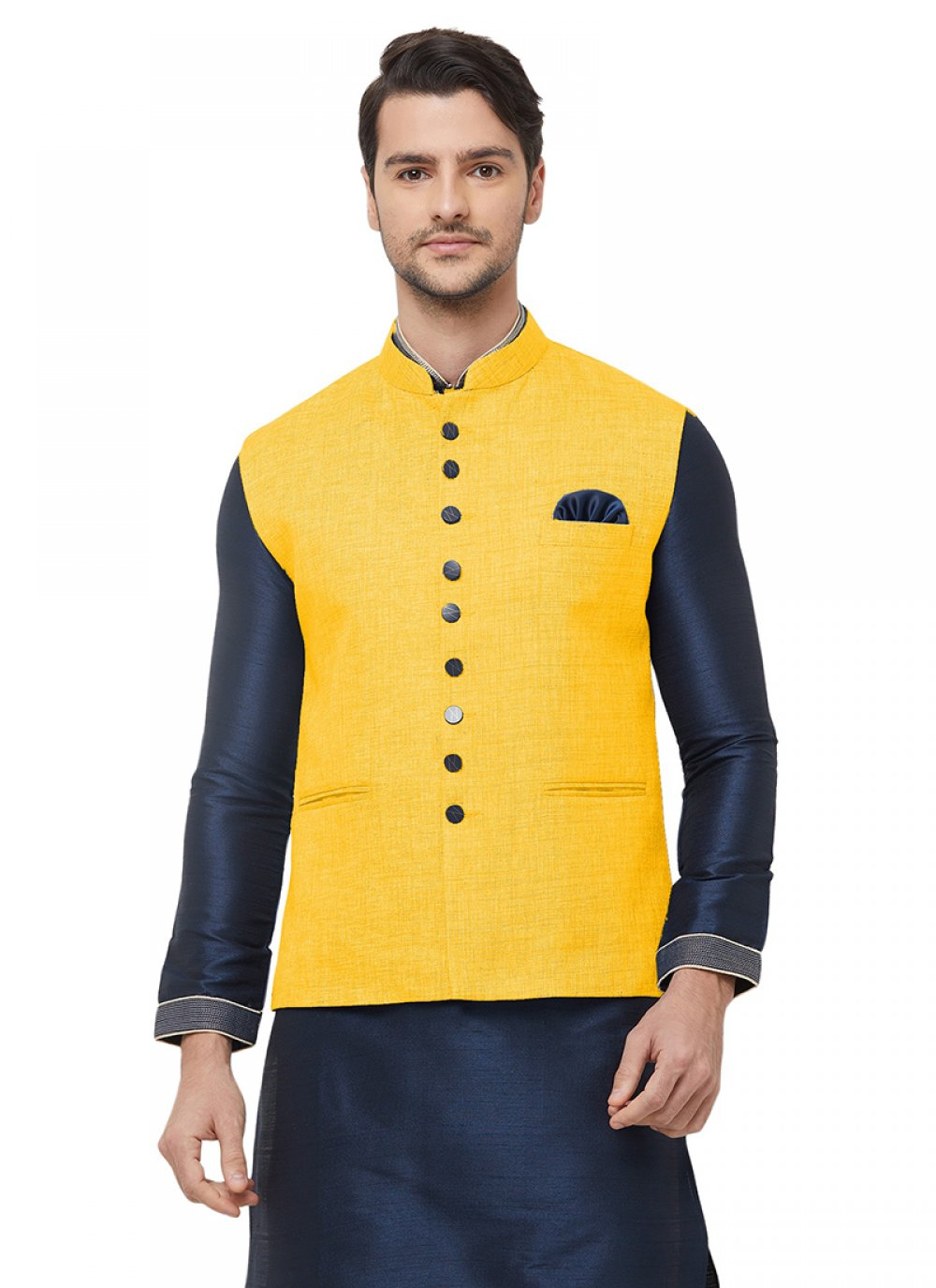 Yellow Plain Nehru Jackets