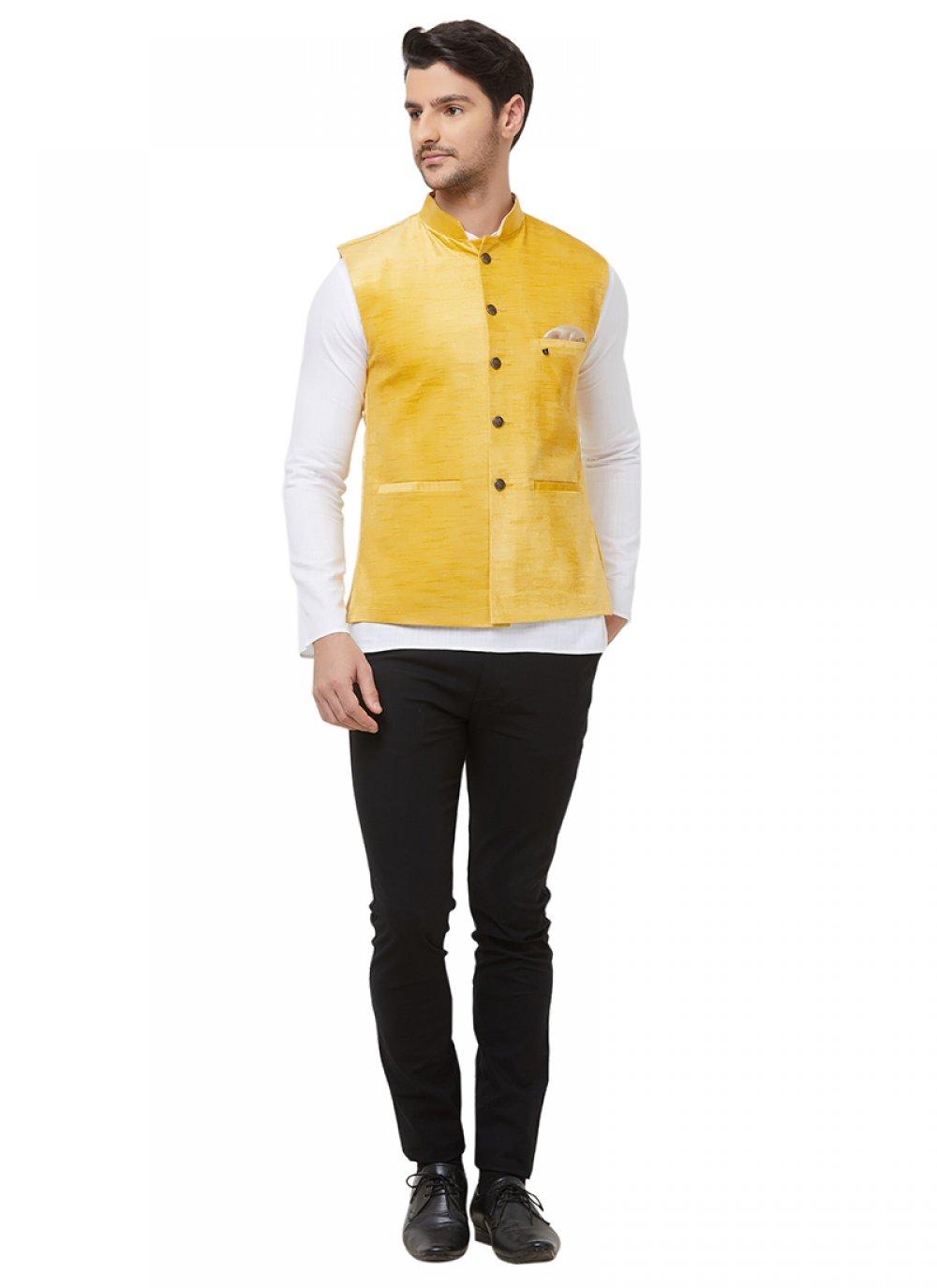 Yellow Plain Reception Nehru Jackets