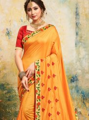 Yellow Poly Silk Embroidered Trendy Saree
