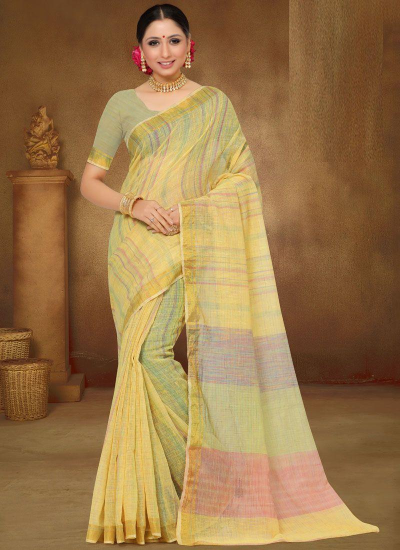 Yellow Print Ceremonial Classic Designer Saree