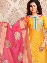 Yellow Print Chanderi Churidar Designer Suit
