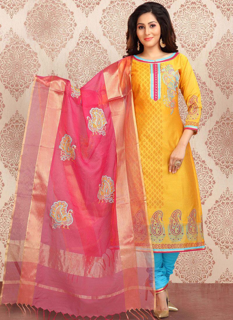 Yellow Print Chanderi Churidar Designer Suit