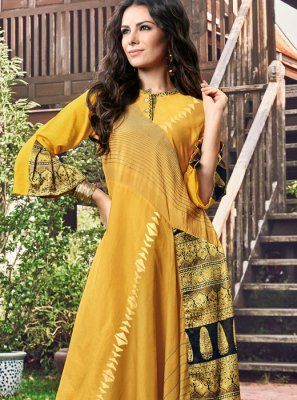Yellow Print Fancy Fabric Party Wear Kurti