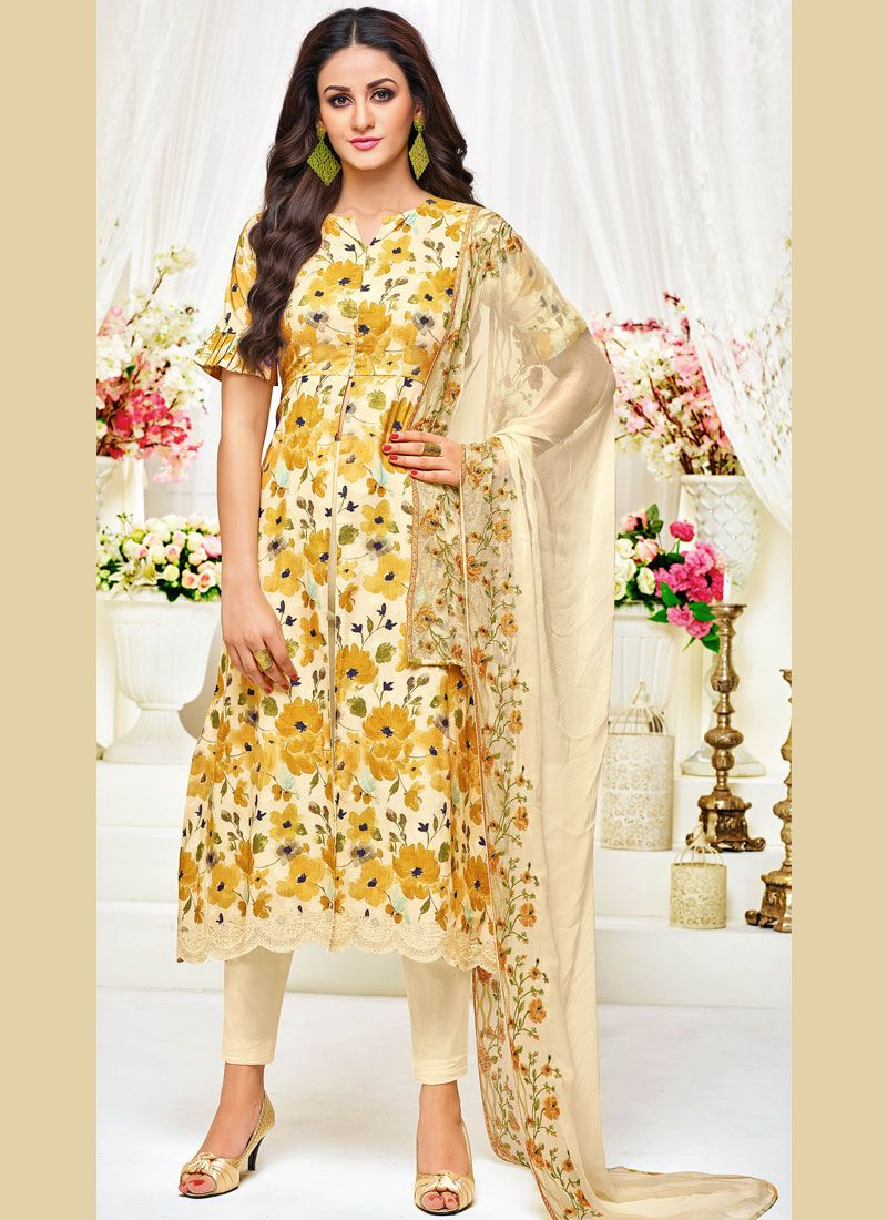 Yellow Print Pant Style Suit