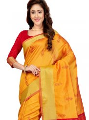 Yellow Print Traditional Saree