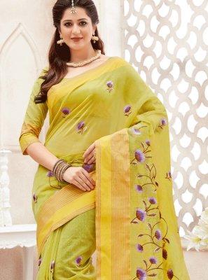 Yellow Print Work Classic Saree