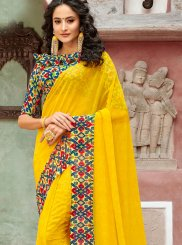 Yellow Printed Faux Georgette Casual Saree