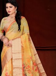 Yellow Printed Festival Traditional Saree