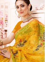 Yellow Printed Festival Trendy Saree