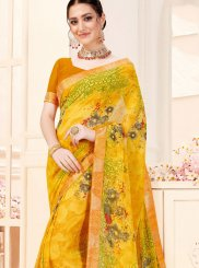 Yellow Printed Festival Trendy Saree