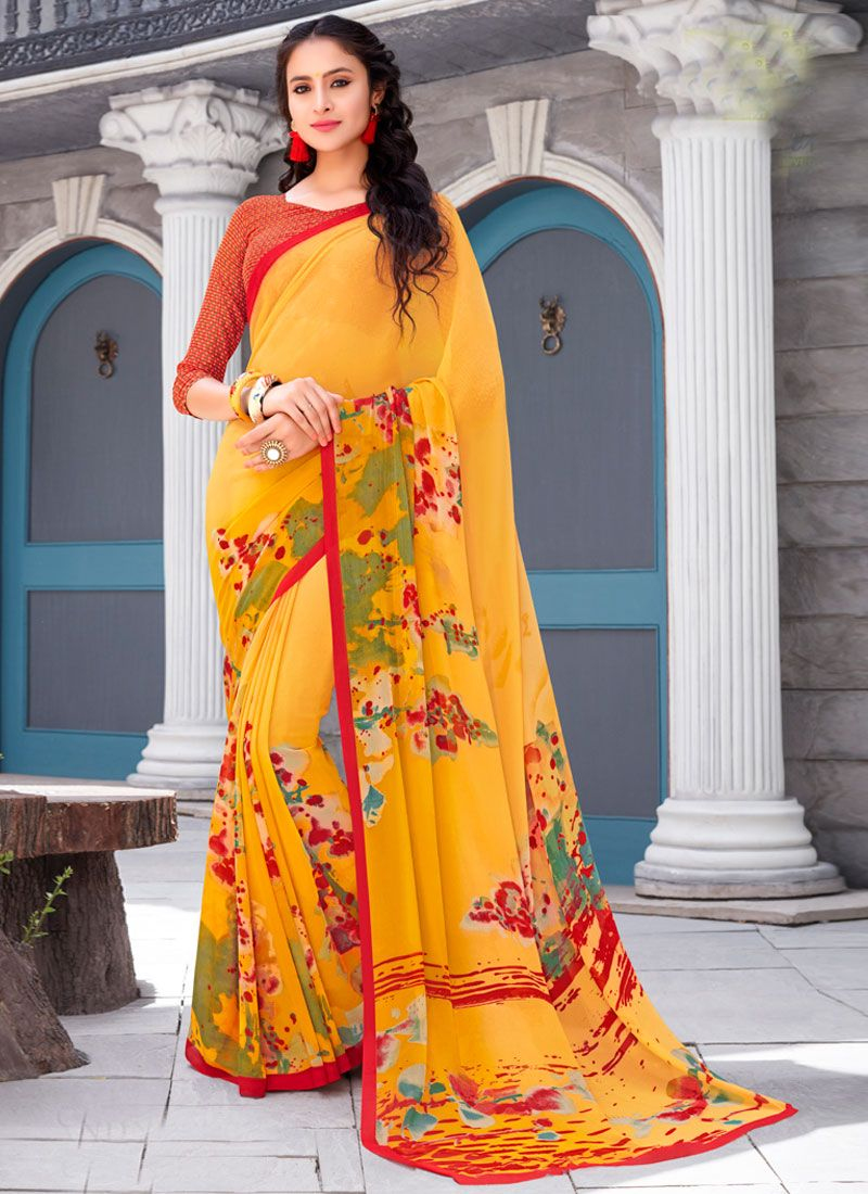 Yellow Printed Georgette Trendy Saree