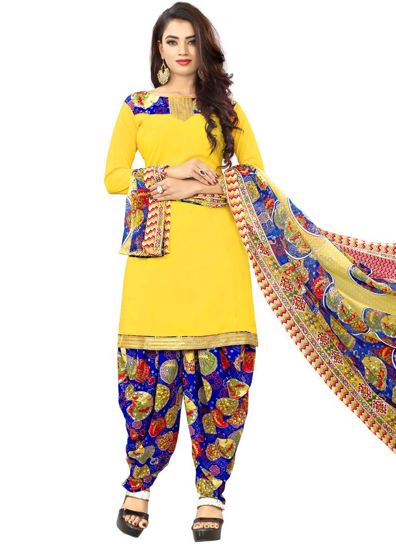 Yellow Printed Poly Cotton Punjabi Suit