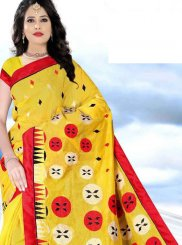 Yellow Printed Printed Saree