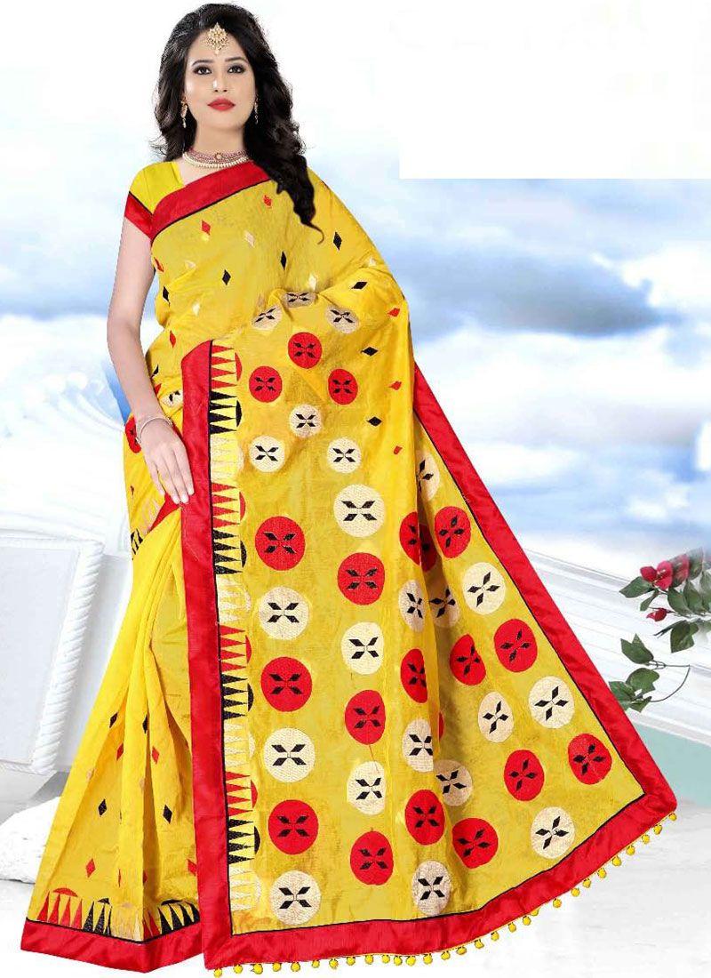 Yellow Printed Printed Saree