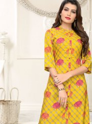 Yellow Printed Rayon Casual Kurti