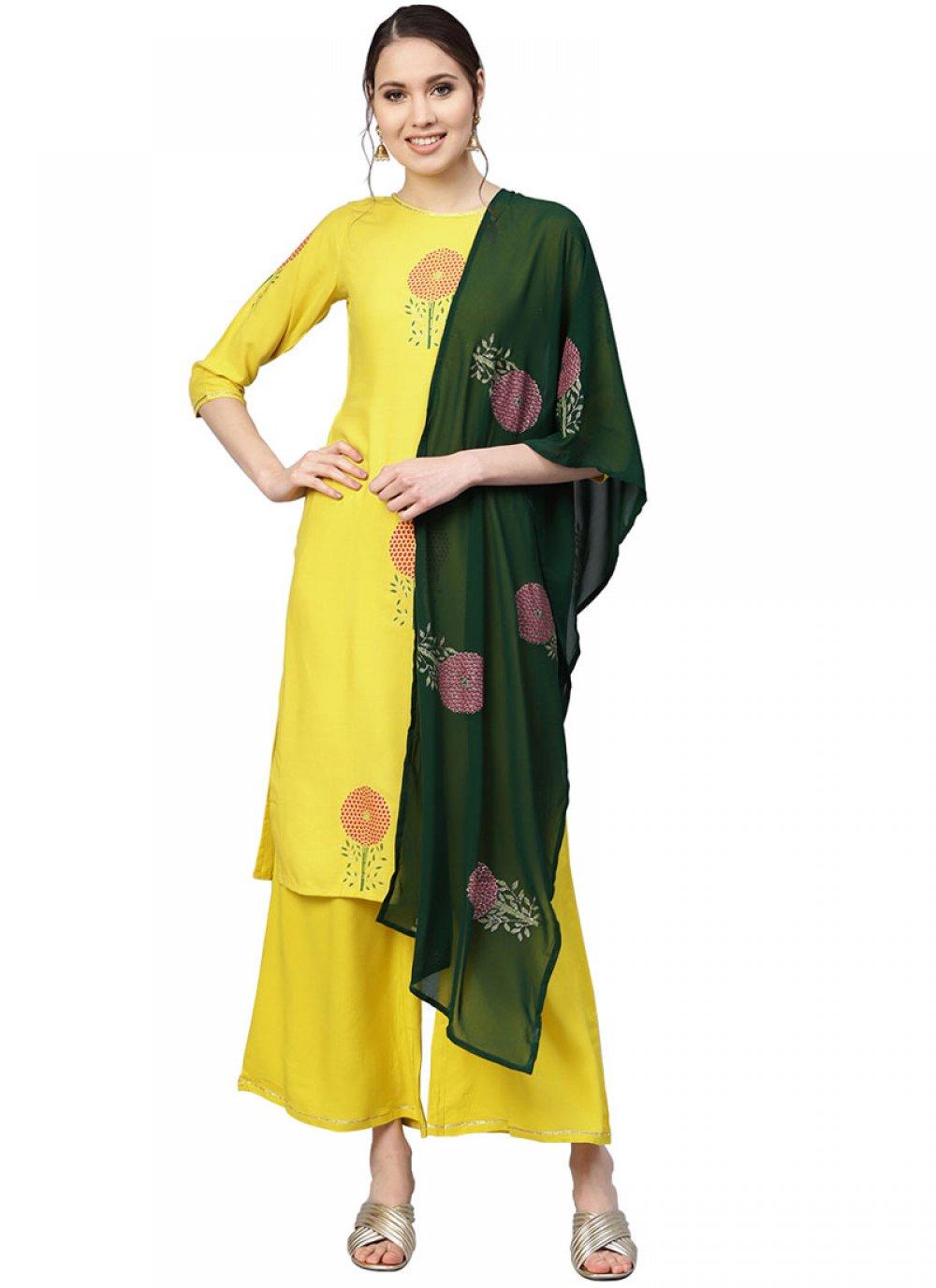 Yellow Printed Readymade Designer Suit