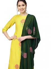 Yellow Printed Readymade Designer Suit