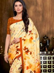 Yellow Printed Saree