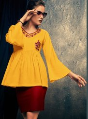 Yellow Rayon Embroidered Casual Kurti