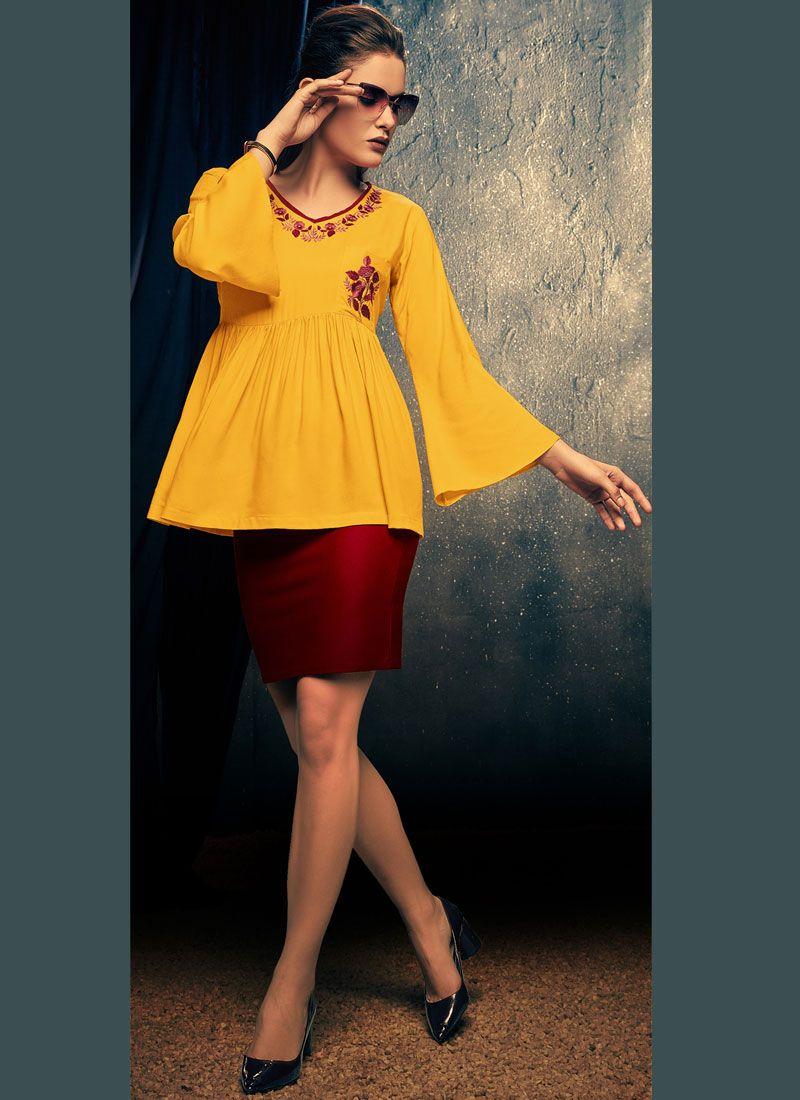 Yellow Rayon Embroidered Casual Kurti